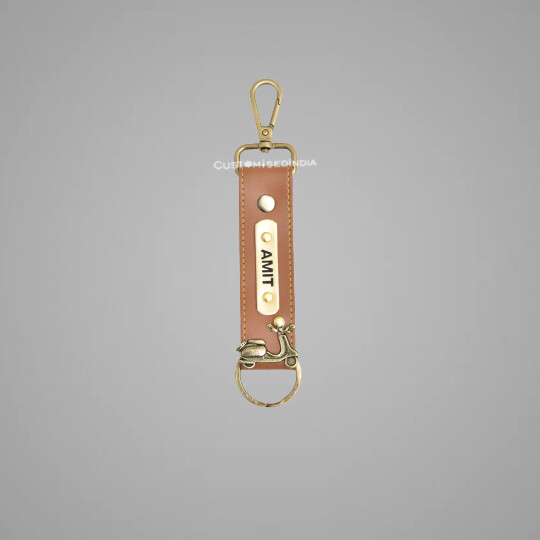 Tan Customised Keychain with Hook