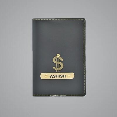 Grey Customised Passport Holder (Indian Leather)