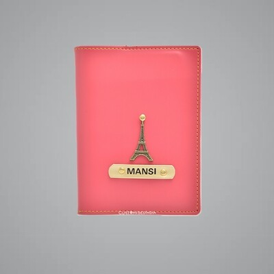 Pink Customised Passport Holder (Indian Leather)