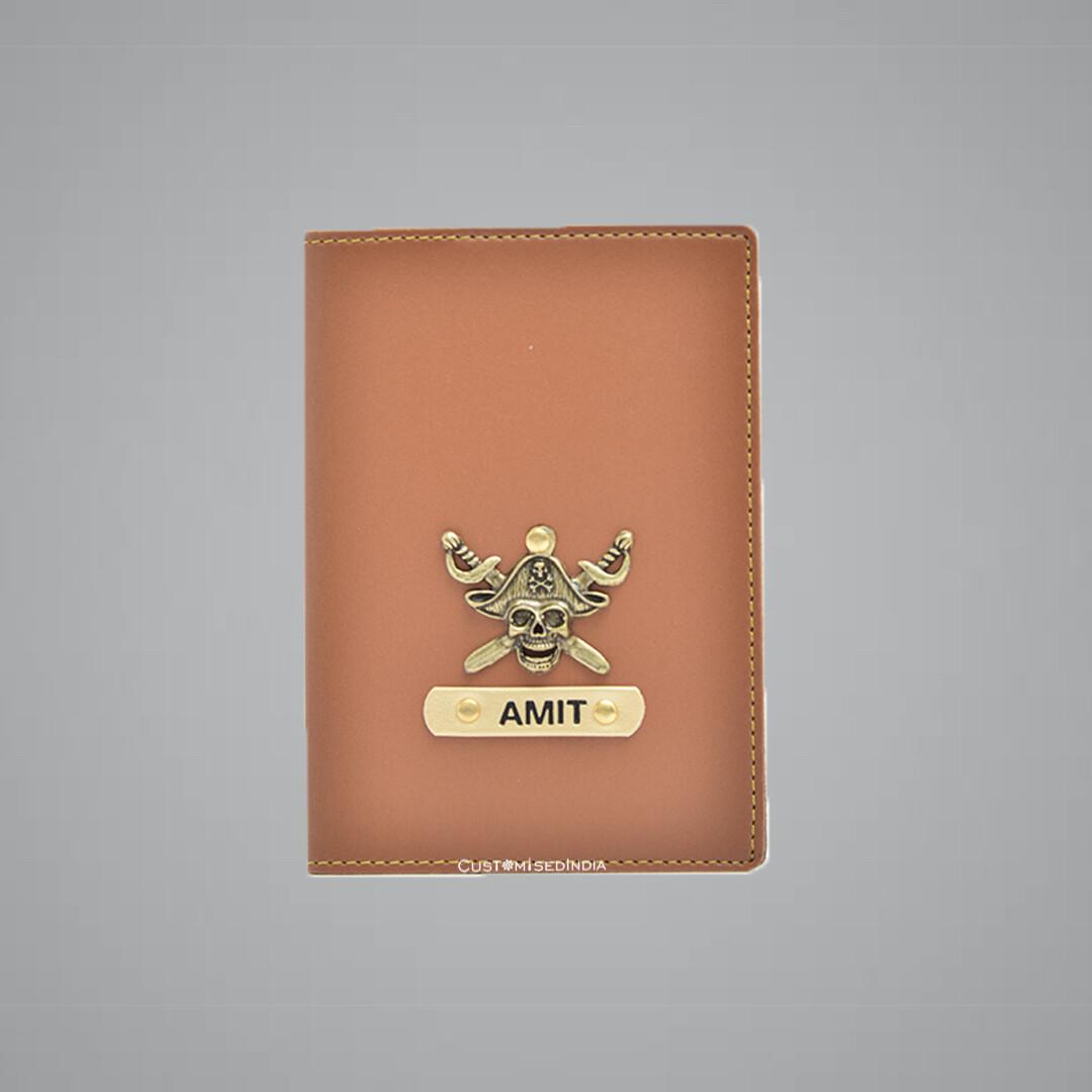 Tan Customised Passport Holder (Indian Leather)