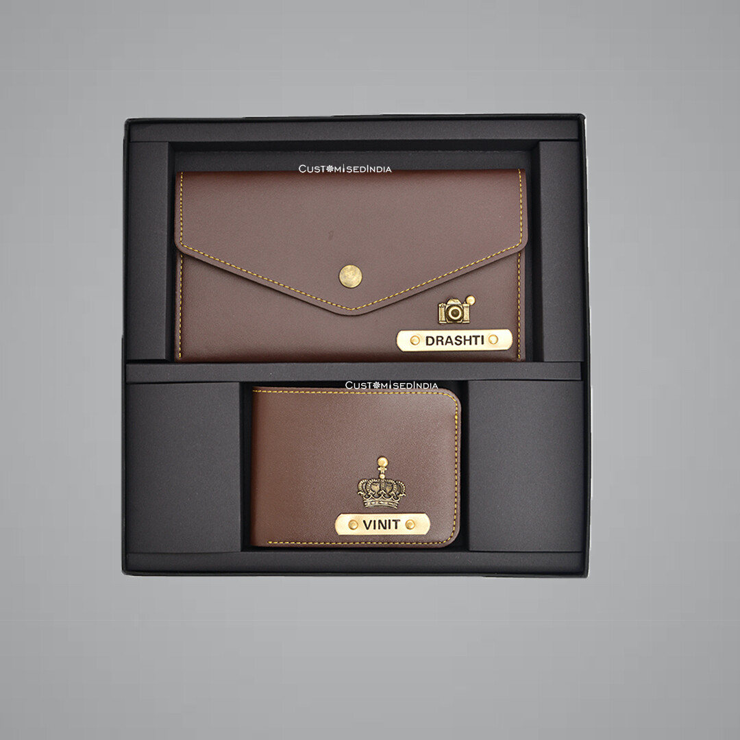 Brown Customised Couple Wallet Combo