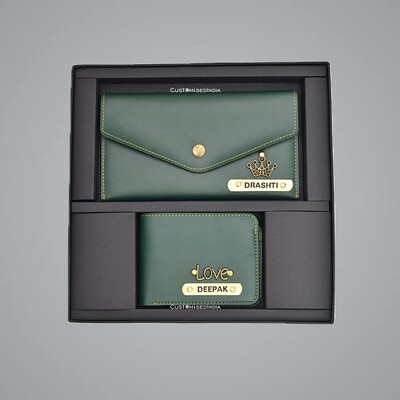 Green Customised Couple Wallet Combo