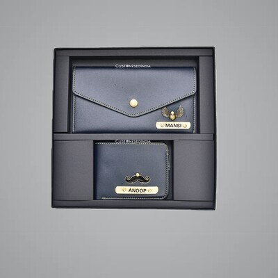 Blue Customised Couple Wallet Combo
