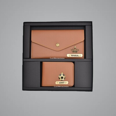 Tan Customised Couple Wallet Combo
