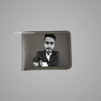 Grey Sketch Leather Wallet