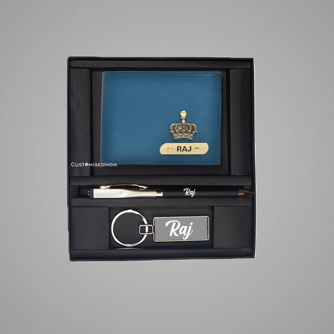 Blue-Tan Dual Colour Wallet Combo