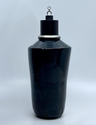 Black/Blue  Ceramic and Found Object Vessel