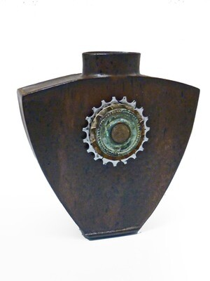 Switching Gears Ceramic Vase with Found Objects