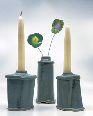 Set of Three Candle Sticks/Vase