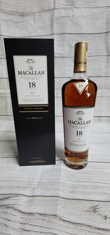 Macallan 18 year old Single Malt Sherry Oak Cask Whiksy 750ml
