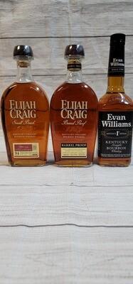 1 Elijah Craig Kentucky Straight Bourbon 750ml, 1 Elijah Craig Barrel Proof 750ml, and 1 Evan Williams 750ml