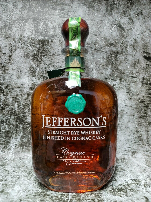 Jefferson's Straight Rye Whiskey Finished in Cognac Casks 750ml