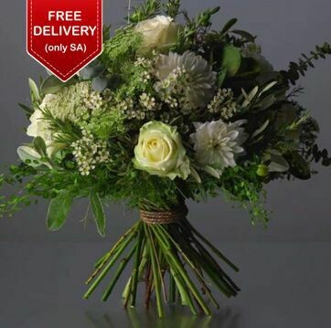 White and Green Designer Hand Tied