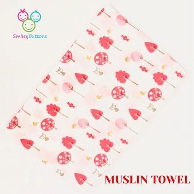 Organic Muslin Towel Pink Trees