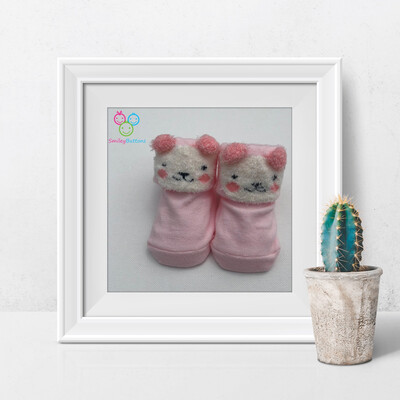 Baby Socks Pink Bear