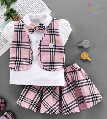 Berry Pink Checked skirt & top