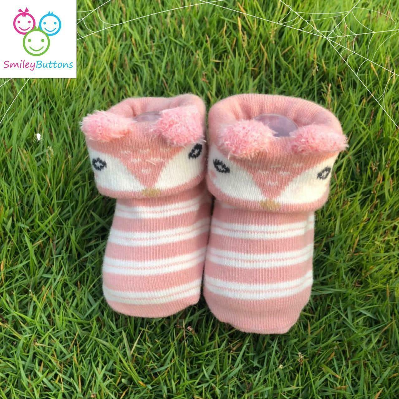 Baby Socks Peach Pink Bear