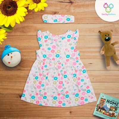 Frock With HeadBand Flower