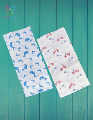 Organic Muslin Towel Combo Dolphin & Cycle