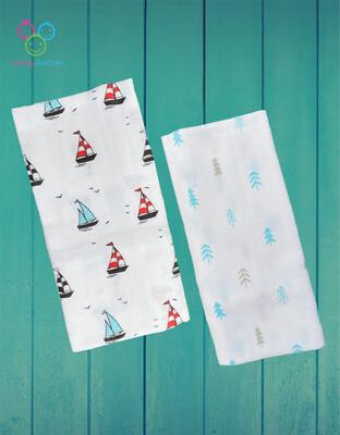 Organic Muslin Towel Combo Boat & Tree