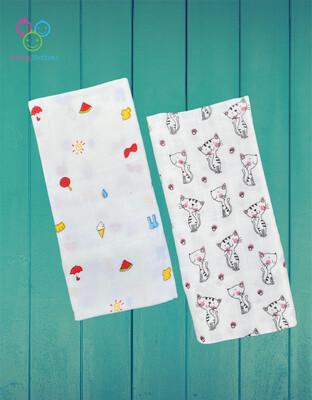 Organic Muslin Towel Combo Ice Cream & Kitty