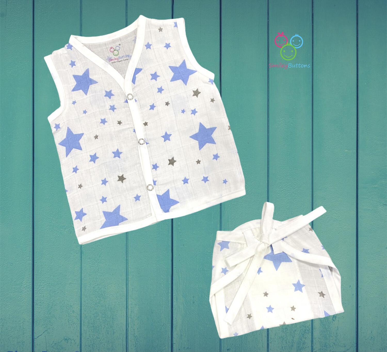 Muslin Jabla & Nappy Combo Blue Star