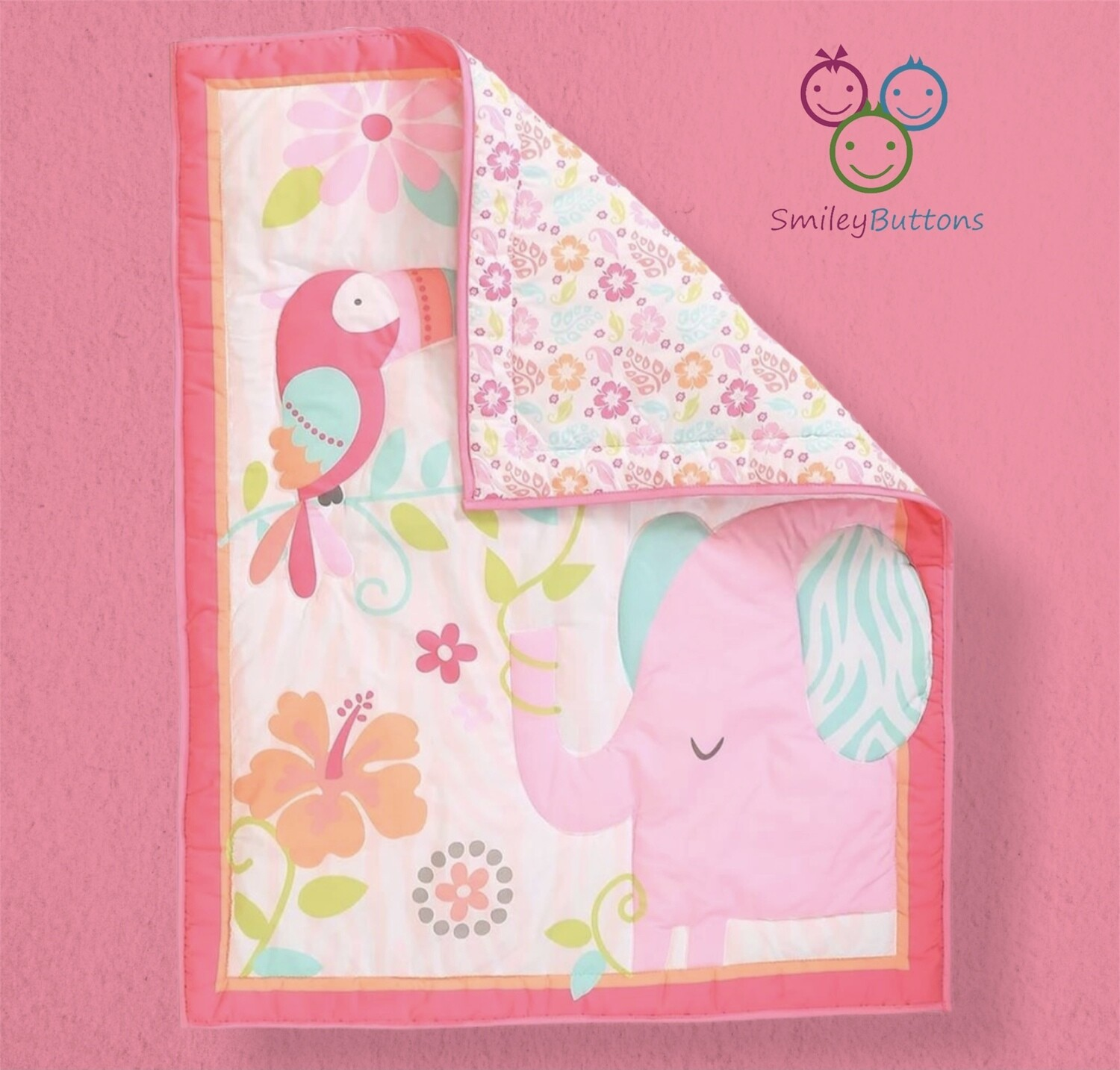 Baby Quilt Reversible Pink Elephant