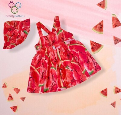 Melon Frock With Cute Cap