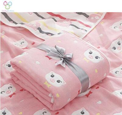 6 Layer Reversible Blanket- Pink pom