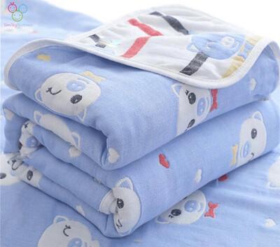 6 Layer Reversible Blanket -BLUE POM