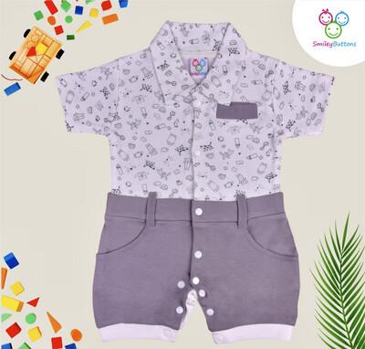 Aop baby print-collar dress
