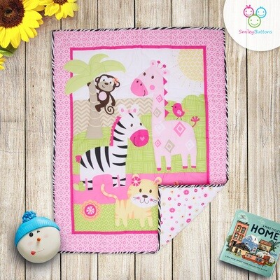 Baby Quilt Reversible Pink ZOO
