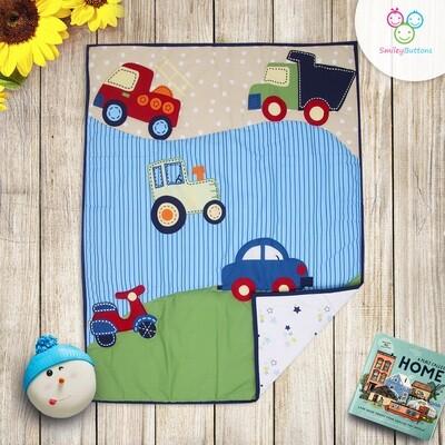 Baby Quilt Reversible Blue Transport