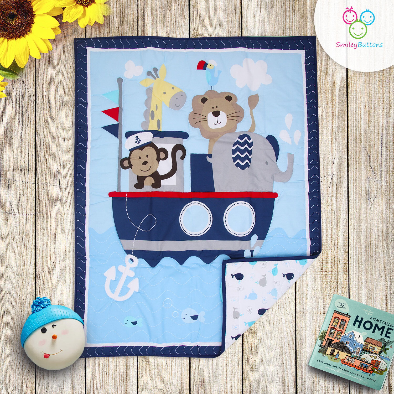 Baby Quilt Reversible Blue ZOO