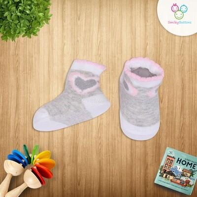 Baby Socks Grey & Pink Heart