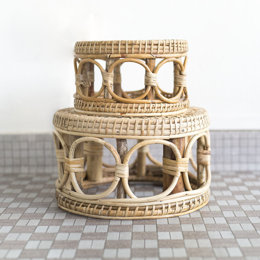 2pc Rattan Planter Stool Set