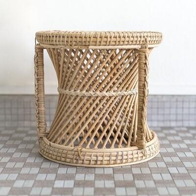 Rattan Spiral Planter Stool