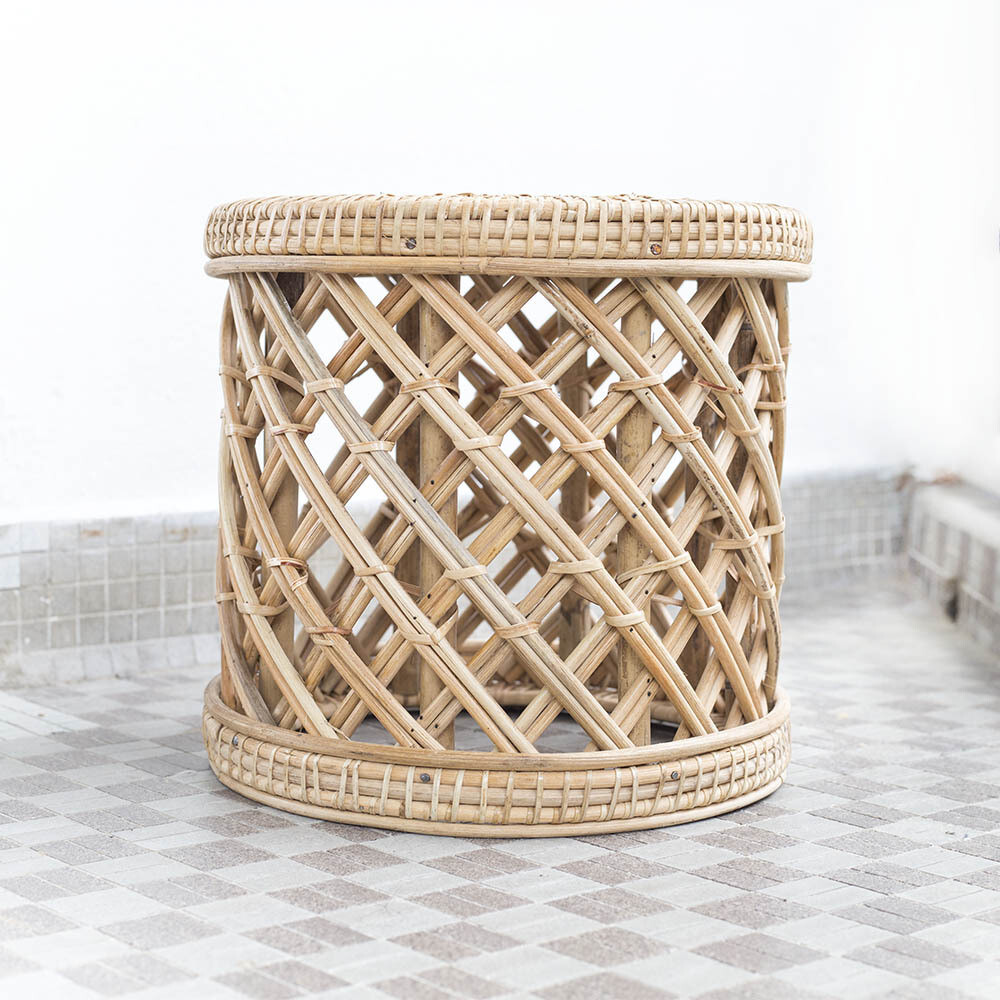 Rattan Drum Planter Stool