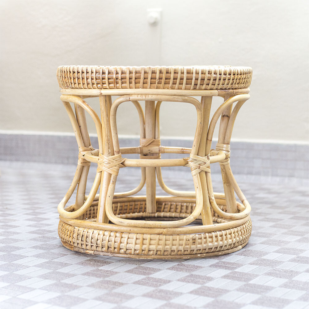 Rattan Hourglass Planter Stool