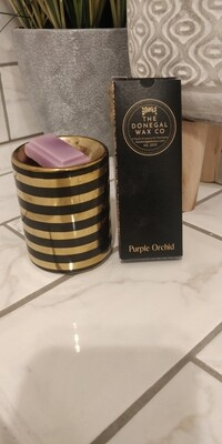 Mini Striped Warmer with 1 Snap Bar Wax Melt (Black & Gold)