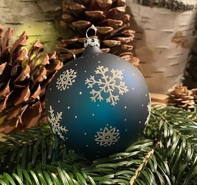 8 cm Blå Julekugle med isblomster