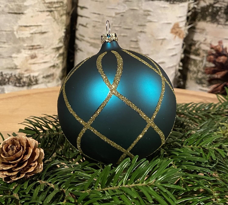 8 cm blågrøn Julekugle med guldsnoninger