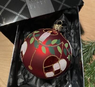 8 cm Julekugle med flethjerte