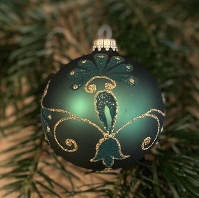 8 cm mat grøn julekugle med guld og fløjl