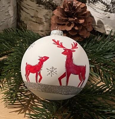 10 cm julekugle påmalet Krondyr med unge
