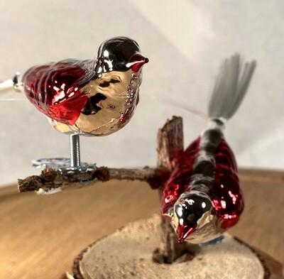 Retro Sølvfugl med røde vinger