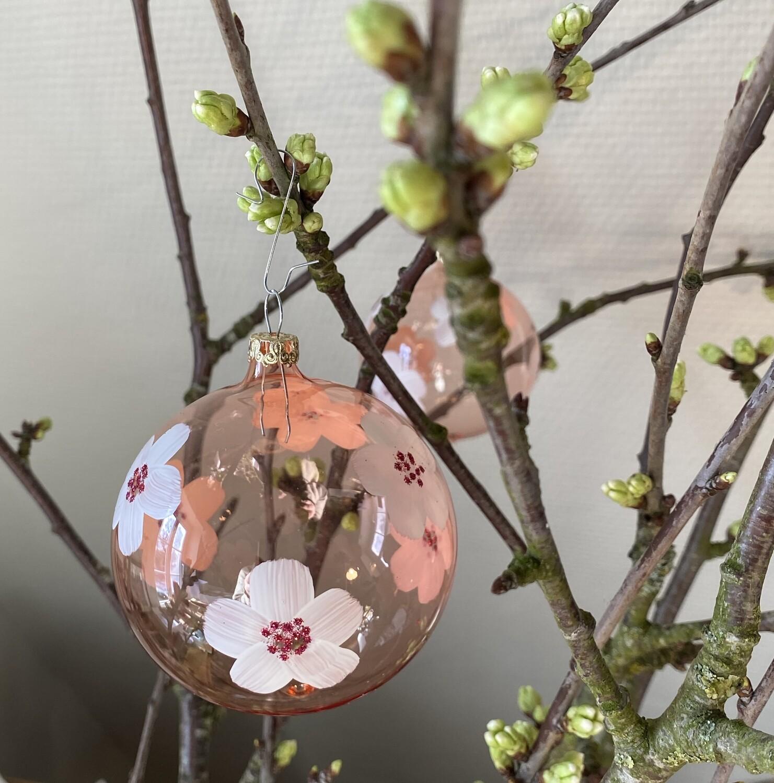 8 cm lyserød glaskugle med blomster