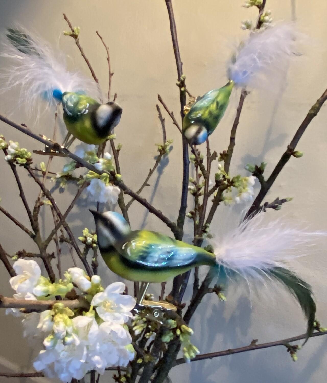 "3 stk bland selv håndmalede glasfugle - ""Havens Fugle"""