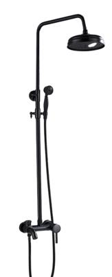 Coloana Dus negru LIVORNO cu para rotunda si efect de ploaie, negru mat cu margini bronz, para ajustabila pe inaltime
