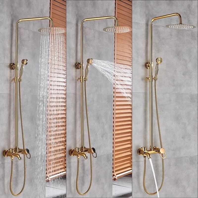 Coloana Dus  Gold Livorno  cu para rotunda si efect de ploaie, para ajustabila pe inaltime